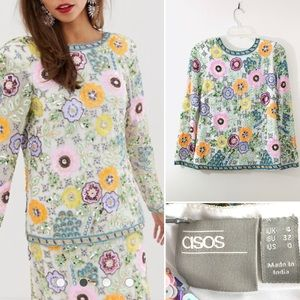 ASOS EDITION floral embellished V back neck.